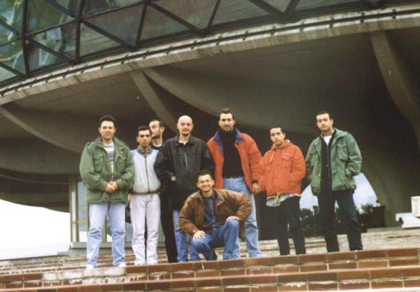 "Members of "" Sgt. Mihajlo Petrovic"" YUModelClub in front of Yugoslav Aeronautical museum"